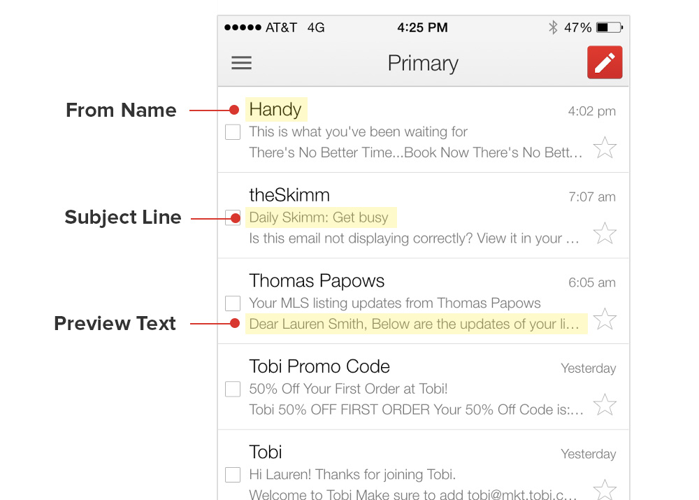 ios gmail app preview text
